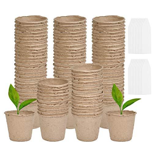 CJMM Abbaubare Anzuchttöpfe runde kleine 6cm mit 100er Plastik Pflanzenetiketten(weiß 1x5 cm) Biologisch Abbaubare Pflanztopf Torftöpfe 100er für Pflanzen
