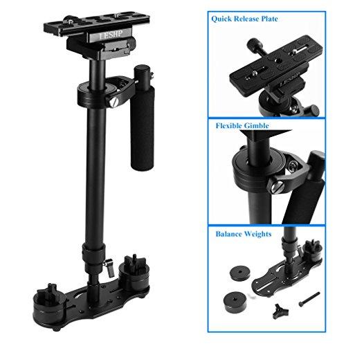 Schwebestativ,LESHP 60cm Handvideokamera Schwebestativ Stabilisator Stabilizers Systemkamera Steadycam Hovering Tripod für Kamera Video DV DSLR Nikon Canon/Sony/Panasonic (Schwarz, S-60)