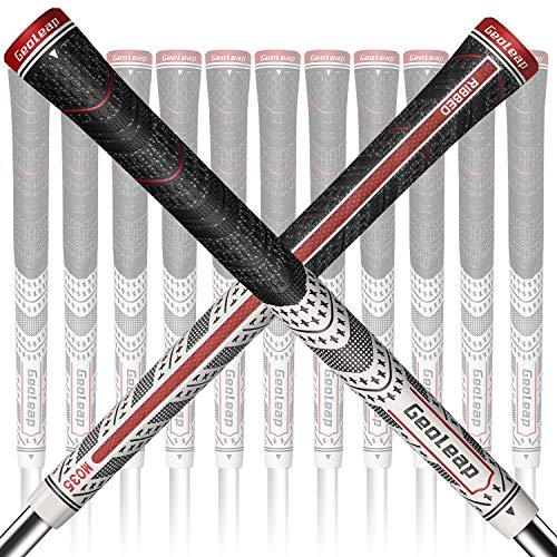 Geoleap ACE-R Golfgriffe, 13-teiliges Set, Rückrippe, verbesserte Kontrolle, Multi-Compound-Gummi und Kordel, Hybrid-Golfschlägergriffe, Standard/Mdisize, 5 Farben optional, mittelgroß, weiß