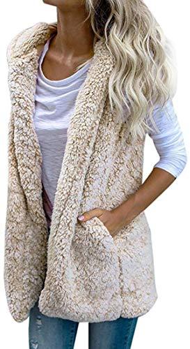 Chaleco para mujer con capucha y capucha para invierno, abrigo de lana informal con cremallera