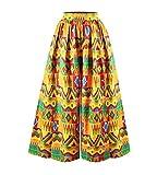 huateng Pantalones Largos de Pierna Ancha Ocasionales africanos Largos Impresos de Las Mujeres Pantalones Sueltos de Cintura Alta