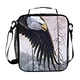 Lunch Cube Art Eagle Birds Forest Spruce Mountain Winter Snow Bolsas de almuerzo...