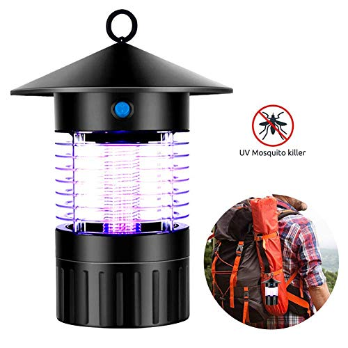 LQ&XL Electronic Mosquito Killer Lamp, Hangable Bug Zapper with UV Light Mosquito Trap, Fly Zapper Insect Killer Safe & Non-Toxic for Home Indoor Bedroom Kitchen Use, black E