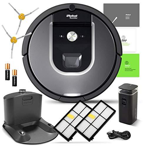 iRobot Roomba 960 Robotic Vacuum Cleaner Wi-Fi Connectivity + Manufacturer's Warranty + Extra Sidebrush Extra Filter Bundle (Renewed)