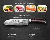 Santokumesser 7 zoll, Japanisch Sushi Messer, Kochmesser Küchenmesser deutschem Messerstahl mit ergonomischem Griff mit Geschenkbox für Haus, Restaurant - 5