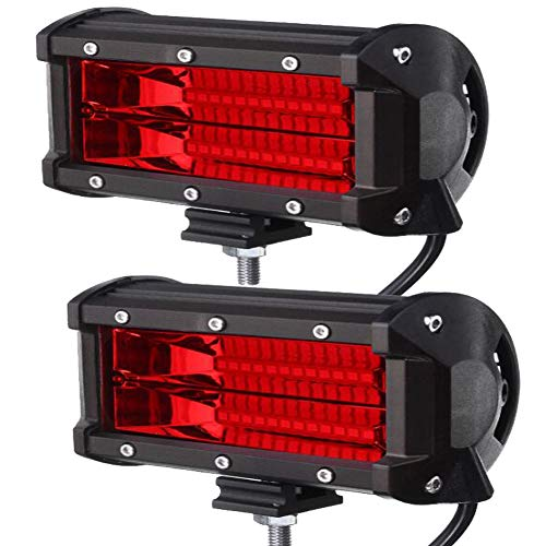 Xinled 2pcs 5inch 72W 2-Row Work Light Bar 6000K Flood or Spot Lamp Marine LED Lighting for Jeeps Off-Road SUV Boats car Accessaries-, high-Strength LED Lamps,Strong Resistance (2pcs 72W Red)