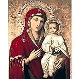 Virgen Mar/ía Familia Cristiana Decoraci/ón 5D Diamante Pintura Etiqueta de La Pared Arte Bordado Punto de Cruz 25x30cm