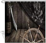 Nautische Duschvorhang Piraten Schiff Lenkrad mit Alten Piratenflagge Wohnkultur Stoff Duschvorhang Bad Wasserdicht Polyester Bad Vorhang mit 12 Haken 72x72 In