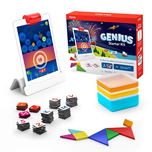 Osmo - Genius Starter Kit for iPad - Ages 6-10 - 5 Educational Learning Games on Math, Spelling, Creativity and More (Osmo - iPad Base Included)