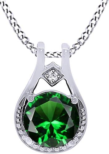 Simuliert Smaragd Grün & WeißTopas CZ Solitaire Anh er Halskette in 925 erling Silber (0.78 rat) (Ring, 18 rat verGoldet Sterling Silber)