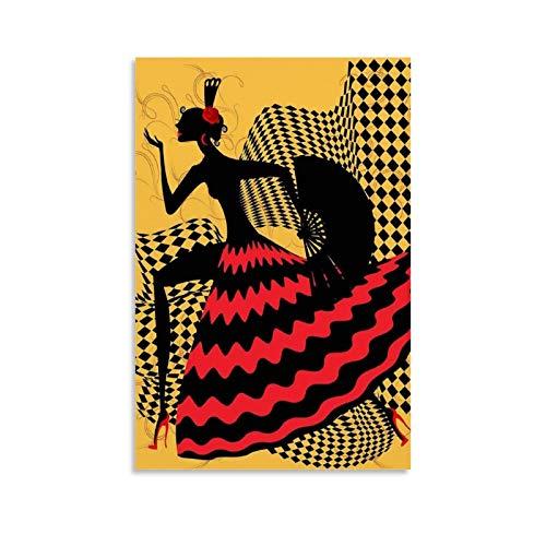 XUYAN Póster interesante de bailarina de flamenco española interesante pintura decorativa sobre lienzo para pared para sala de estar, dormitorio, 60 x 90 cm