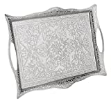 Erbulus Turkish Serving Trays - (10.23' x 14.17'') - Silver Tray Decorative - Table Centerpiece and Kitchen Tea Trays for Serving - Rectangle Silver Platter for Dinner, Coffee and Dessert