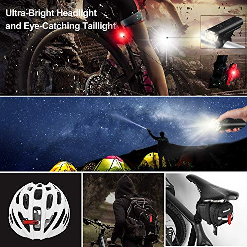 Coukou LED Bike Lights Set, Rechargeable Front Light Taillight Combinations LED Bicycle Light Set, 4 Modes, IPX4 Waterproof Bike Lights(2 USB cables)