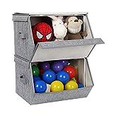 SONGMICS 2er Set Faltbox mit Deckel, stapelbare Aufbewahrungsboxen mit Magnetverschluss und einer Stütze aus Eisendraht, faltbare Aufbewahrungsbox für Accessoires, Spielzeug, Kleidung, 38 x 25 x 26,5/35 cm (B x H x T), grau, RLB02GY - 9