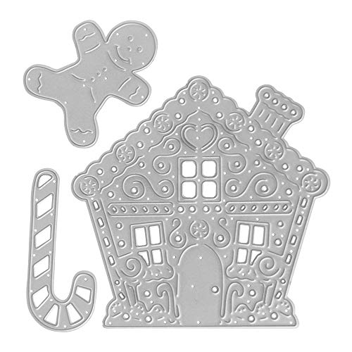 Metal Die Cuts Gingerbread Man House Cutting Dies Embossing Stencil Template for Card Making Scrapbooking Paper Craft Album Stamps DIY Christmas Décor
