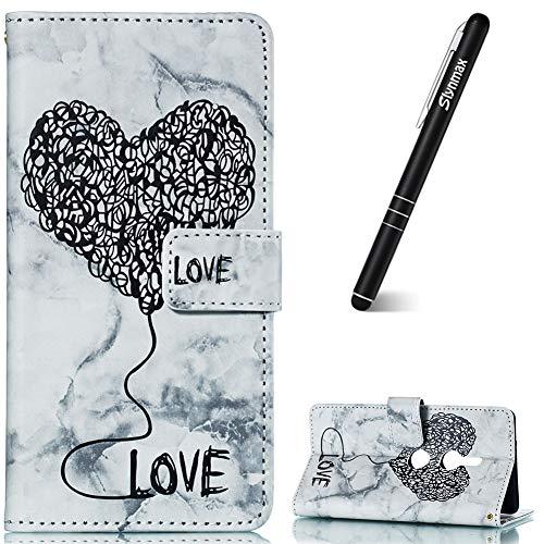 Slynmax Samsung S8 Plus telefoonhoesje Flip lederen portemonnee met standaard cover + 1 * styluspen Zwart