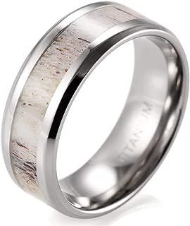 SHARDON Men's 8mm Beveled Edge Titanium Wedding Ring with Real Deer Antler Inlay
