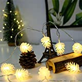 CBRCYGG Solar String Lights, Christmas Pine Cones Shape LED Fairy String, Warm White Night Light,Waterproof Pine Cone Wind Chimes, for Party Garden Home Festival Decoration