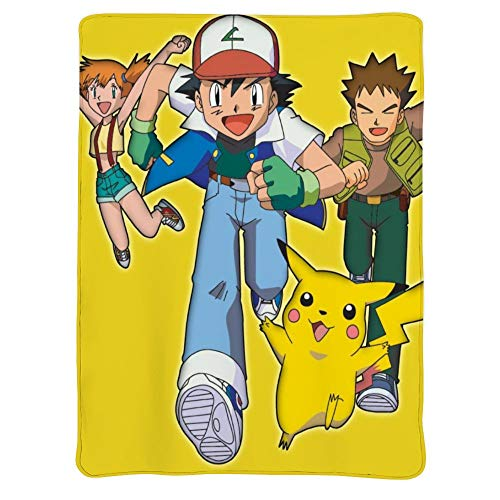MEW Anime Poke-mon Lightweight Blankets, Pikachu Ash Ketchum (2), Soft Cozy Warm Cute Flannel Fleece Throw Blanket for Adult and Kids,Living Room Bedroom Study Couch Bed and Beach Travel,60x50 inches