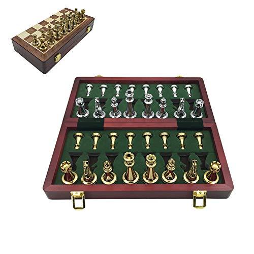 N / A Juego de ajedrez Plegable sólido: Material de aleación de Zinc, Superficie Lisa, Mano de Obra Fina, Adecuado para Principiantes de ajedrez y Juegos interactivos personales