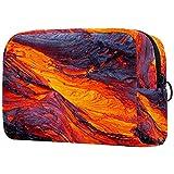 Kit de Maquillaje Neceser Makeup Bolso de Cosméticos Portable Organizador Maletín para Maquillaje Maleta de Makeup Profesional Magma volcánico 18.5x7.5x13cm