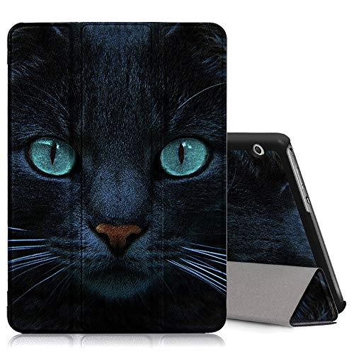 ZhuoFan Huawei Mediapad T3 10 Hülle, Schlanke Leicht Hülle Tasche Ständer Schutzhülle mit Muster Motive Cover für Huawei T3 9,6 Zoll Tablet, Katze