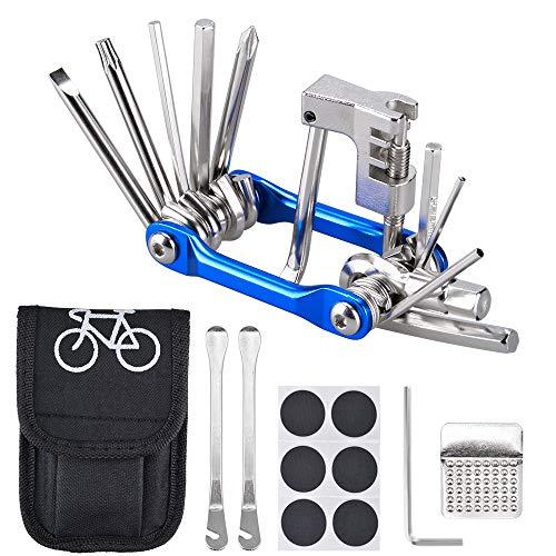 Oziral 自転車工具セット 6点セット 自転車修理キット 自転車用ツールセット パンク修理キット 11-in-1マルチツール 六角レンチ タイヤレバー 持ち運び便利 収納バッグ 軽量コンパクト メンテナンス 応急修理用