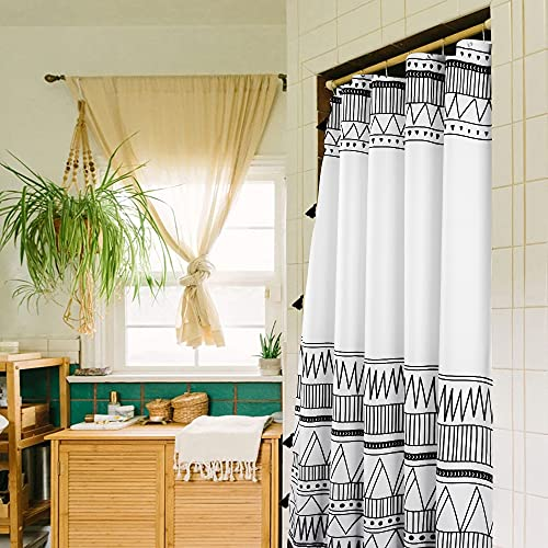 Uphome Boho Shower Curtain Black and White Fabric Shower Curtain with Hooks Chic Geometric Cloth Bathroom Curtains Set Waterproof Weighted Hem for Modern Hotel Decorative Accessories 60x72