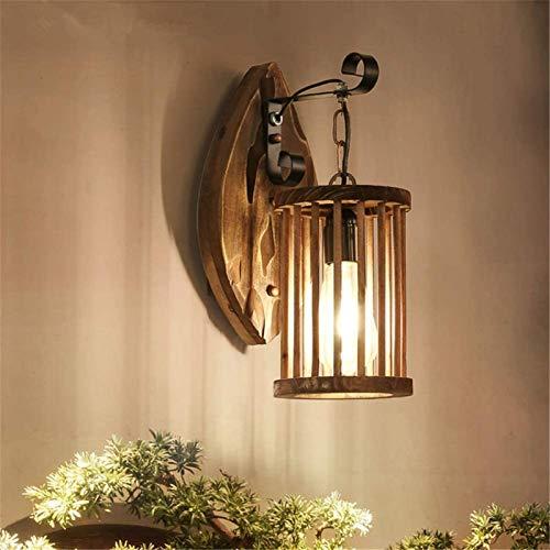 Lámpara industrial, Luz de pared Interior Retro estilo industrial Lofture Base de la hoja de madera con la cabeza de un solo pájaro Pájaro Lámpara de pared Lámpara de pared E27 Socket para sala de est