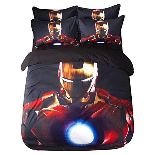 Leezeshaw Juego de funda de edredón con dos fundas de almohada, diseño de Iron Man The Avengers para niños y adultos (3 unidades)