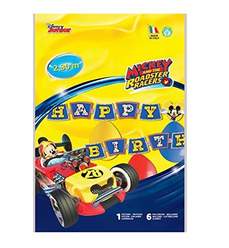 Siad–Kit Happy Birthday Mickey Mouse Club House (2,15m) con 6colores guirnalda con globos, multicolor, One size, 33863