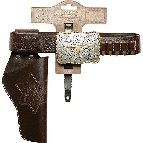 Schrödel J.G. Gürtel Bull, 1 Pistolengürtel aus Lederimitat und Metall für Spielzeugpistolen, Länge 120 cm, dunkelbraun (750 0126)