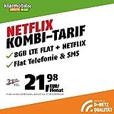Handyvertrag D-Netz Allnet Flat 5 + 3 GB - Internet Flat, Allnet Flat Telefonie & SMS in alle Deutschen Netze, EU-Roaming, 24 Monate Laufzeit