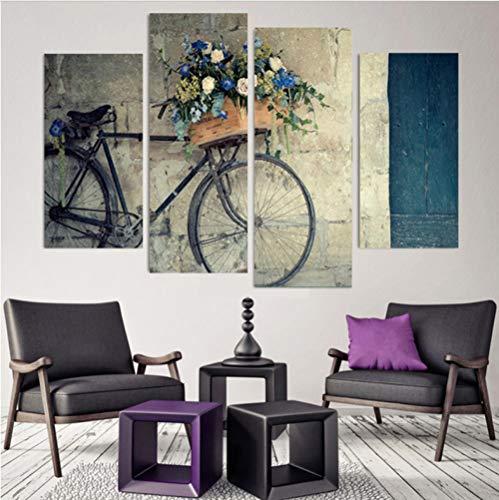 Aisufen wanddecoratie van canapa op canvas, motief: Domestische decoratie van de huisdecoratie 4 retro-planken voor modulaire zalm 20x40/60cmx2