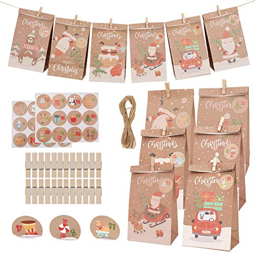 Herefun 24 Pieces Christmas Countdown Calendar, DIY Advent Calendars, Kraft Gift Bag Set with Stickers, Wooden Clips, Jute Hemp Rope for Birthday Party Decoration Christmas