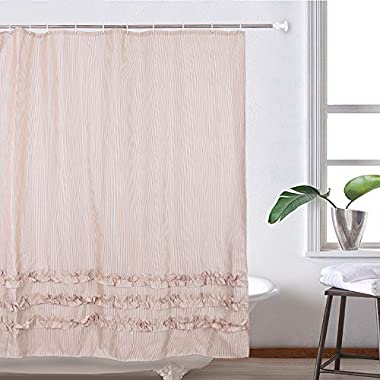 HOMESPON Extra Thicken Premium Quality Shower Curtain Polyester Fabric Mildew Mold Resistant Waterproof, Non-Toxic No Odor Eco-Friendly-Bone Beige with White Stripes (Ruffle 72x72, Beige)