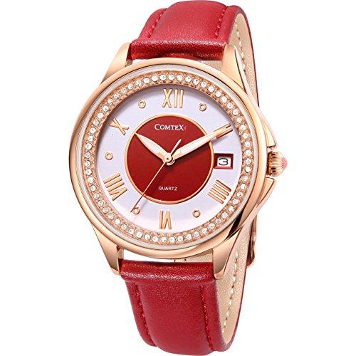 Comtex Damen Uhr Analog Quarz mit Leder Armband FYL140063-4RR
