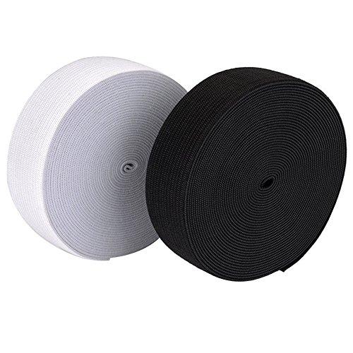 Rouleau de bande élastique plate tissée et tricotée en noir et blanc de 5 m - 25 mm de largeur - cordon élastique pour couture artisanal - bande élastique - corde à coudre en stretch blanc
