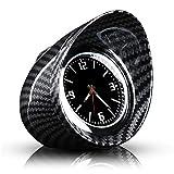 Reloj de cuarzo para coche, interior de fibra de carbono, redondo, reloj de cuarzo para coche, universal, fecha, decoración