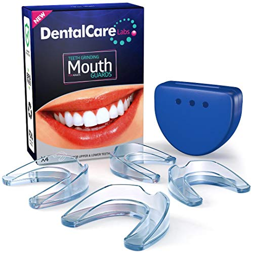 Professional Mouth Guard For Grinding Teeth, 2 Sizes, 4 Pieces Mouthguard, Moldable Night Guards For...