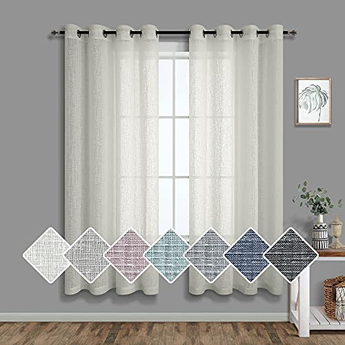Cream Sheer Curtains for Bedroom 63 Inch Length 2 Panel Set Grommet Window Drape Country Burlap Linen Look Semi Privacy Neutral Cottage Curtains for Living Room Kitchen 63 Long Khaki Greyish Beige Tan
