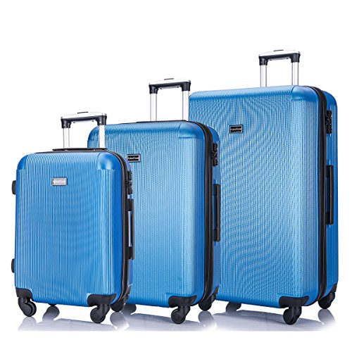HyBrid & Company Luggage Set Durable Lightweight Hard Case Spinner Suitcase LUG3-LY71, 3 Pieces, Blue