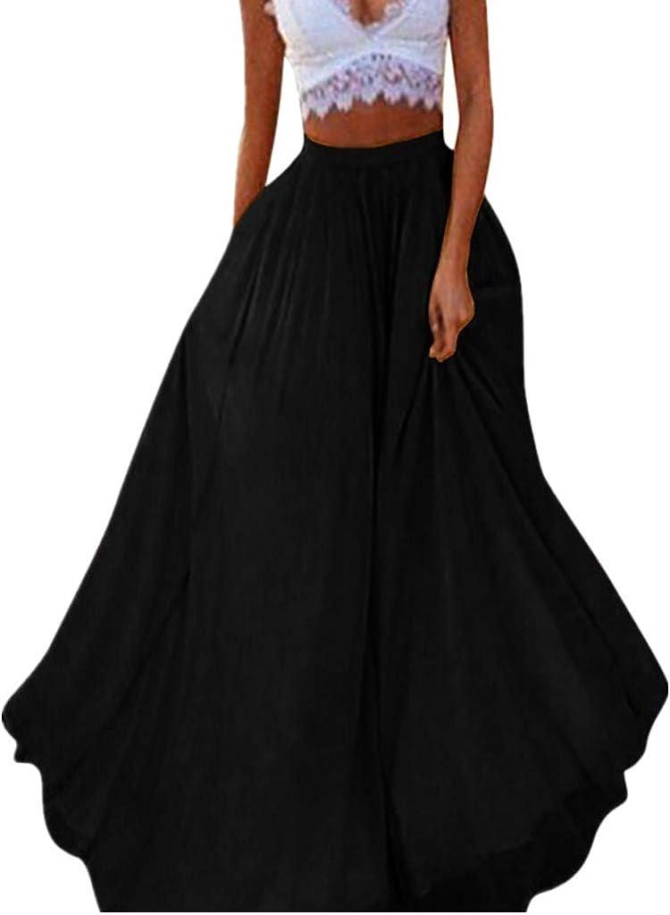 VEZAD Women's Bohemian Style Elastic Waist Band Cotton Linen Maxi Skirt