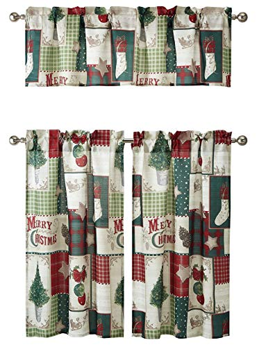 GoodGram Holiday Living Country Farmhouse Plaid Merry Christmas Kitchen Curtain Tier and Valance Set
