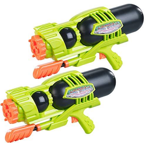 Speeron Spritzpistole: 2er-Set Kinder-XL-Wasserpistolen, 1.600-ml-Wassertank, 3 Strahlarten (Spritzpistole Garten)