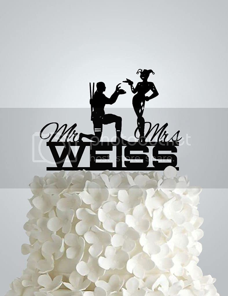 Acrylic Limited price sale Year-end gift Wedding Cake Topper - Personal Deadpool Harley Proposing