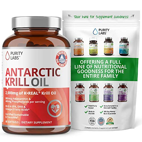 Pure Antarctic Krill Oil Supplement. 2,000mg of Krill Oil and 800mcg Astaxanthin. 60 Softgels Rich in Omega 3, Fatty Acids, DHA, EPA, & Phospholipids. Supports Joint, Memory and Brain Function
