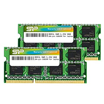 Silicon Power Hynix IC Compatible for Apple DDR3 DDR3L 16GB  2 x 8GB  RAM 1600MHz  PC3 12800  204 pin CL11 1.35V Non ECC Unbuffered SODIMM Laptop Memory Module - Low Voltage