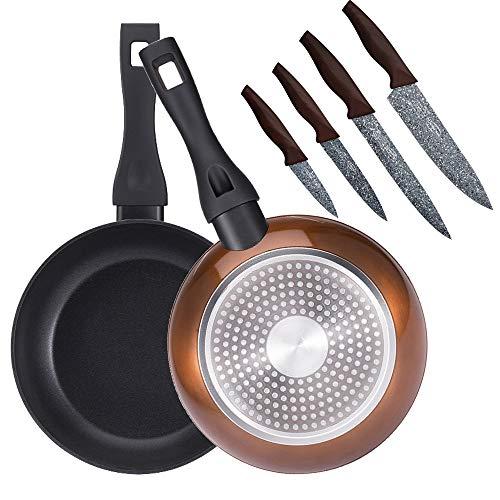 Bergner PK1926 Set de 2 poêles 20 + 24 cm, en aluminium forgé, induction, plus jeu de 4 couteaux de cuisine, acier inoxydable