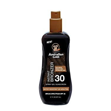 Australian Gold Spray Gel Sunscreen with Instant Bronzer SPF 30, 8 Ounce | Moisturize & Hydrate Skin | Broad Spectrum | Water Resistant | Non-Greasy | Oxybenzone Free | Cruelty Free